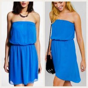 Express Strapless Blue Dress